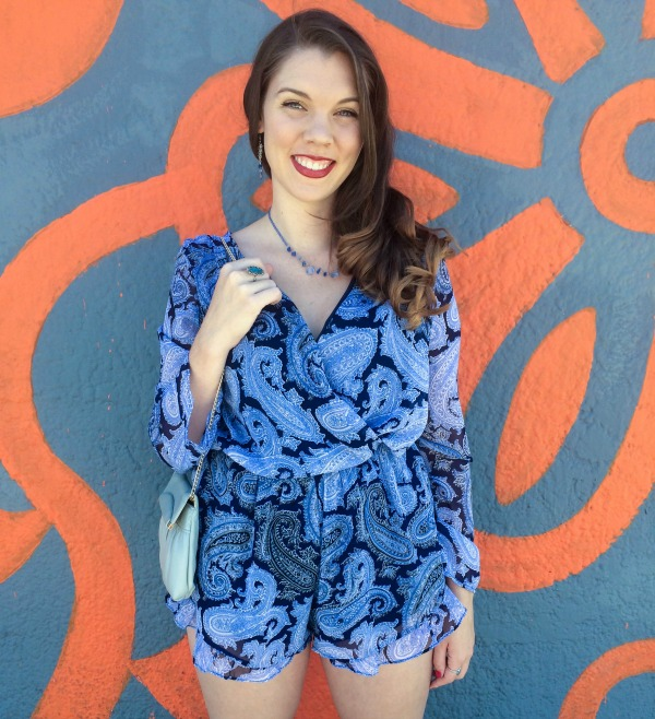The Vogue Voyager - blue romper for spring. Looking for the perfect look for spring? Check out this ensemble featuring a blue romper. It's bright and can be dressed up or down for any spring occasion!